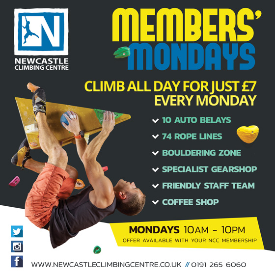 Members Monday offer at Newcastle Climbing Centre